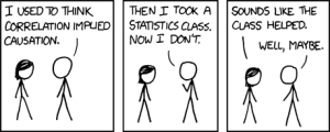 "First frame:  ""I used to think correlation implied causation.""  Second frame:  ""Then I took a statistics class.  Now I don't.""  Third frame:  ""Sounds like the class helped.""  ""Well, maybe."""