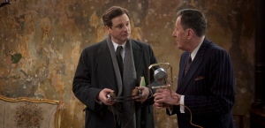 Colin Firth and Geoffrey Rush in Lionel Logue's office in The King's Speech
